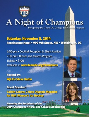 Flyer for A Night of Champions. Information also available as posted.