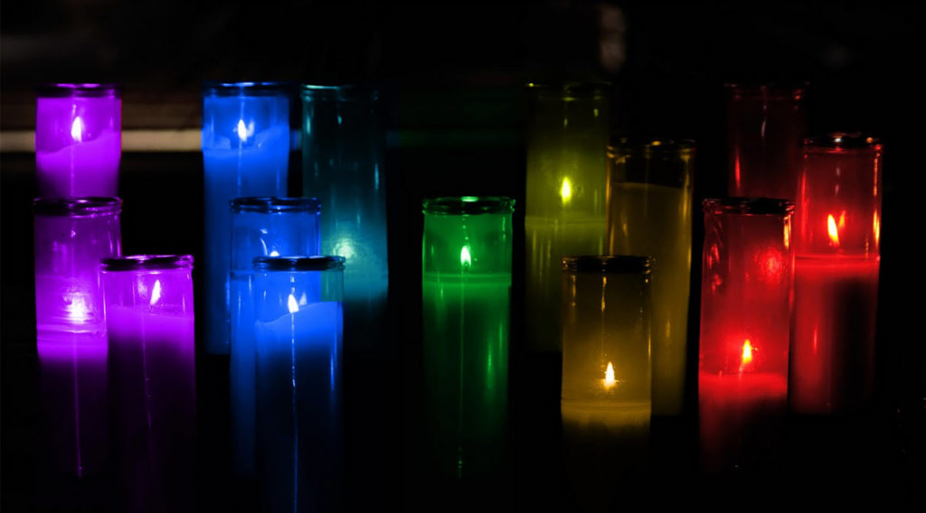 multi colored candles